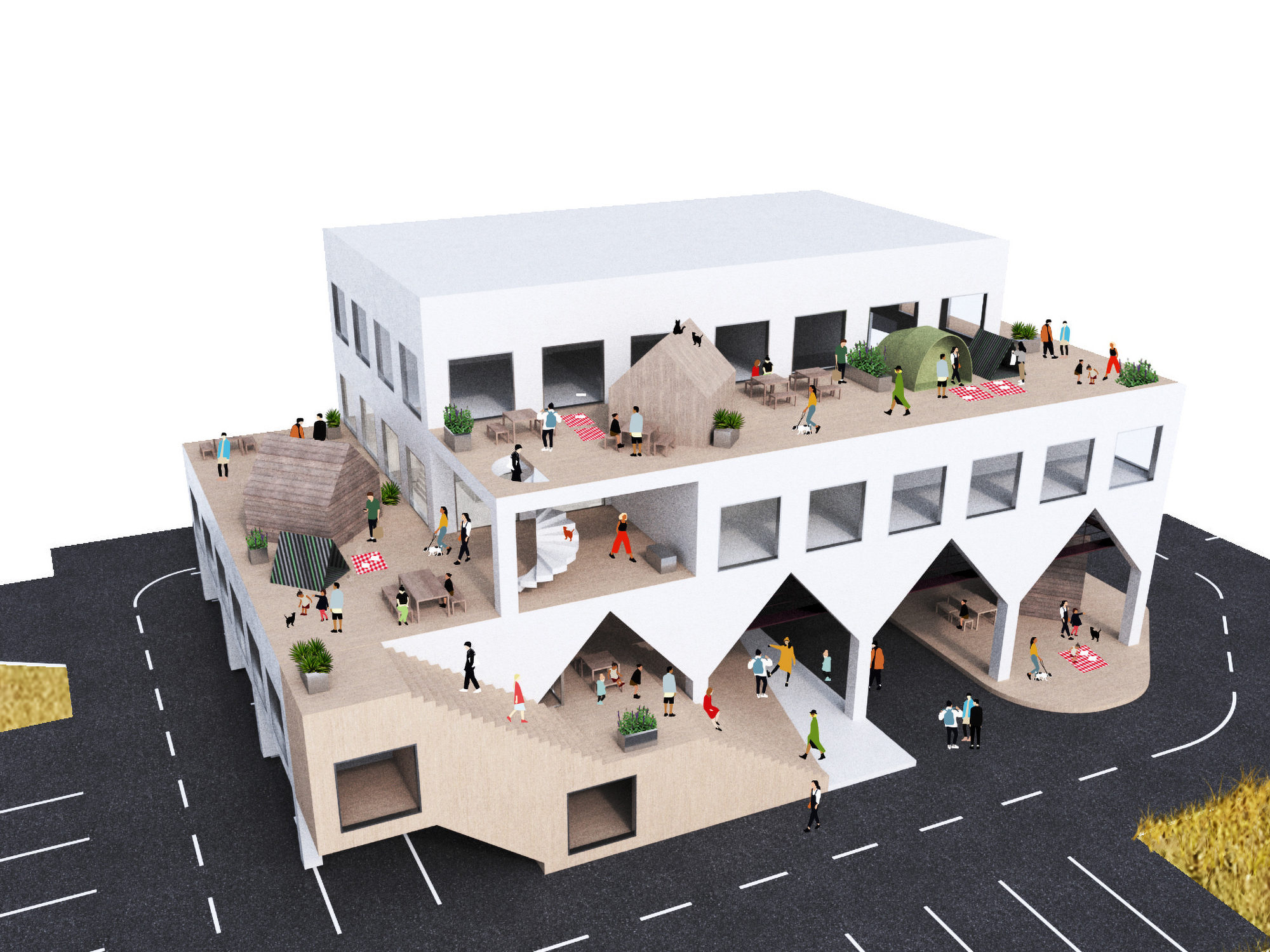Hiroshima Kumano Cho Community Center Proposal Competition by Ko Nakamura Mosaic Design 熊野町防災センター プロポーザル 応募案 モザイクデザイン中村航